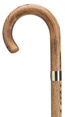 SMOKED Solid Acacia Wood Crook walking cane, brass collar 36