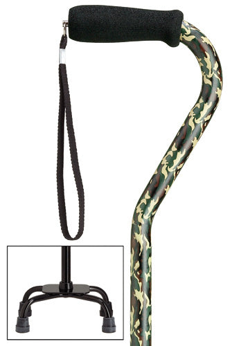 Camouflage Green Quad Cane, small base, 30-39