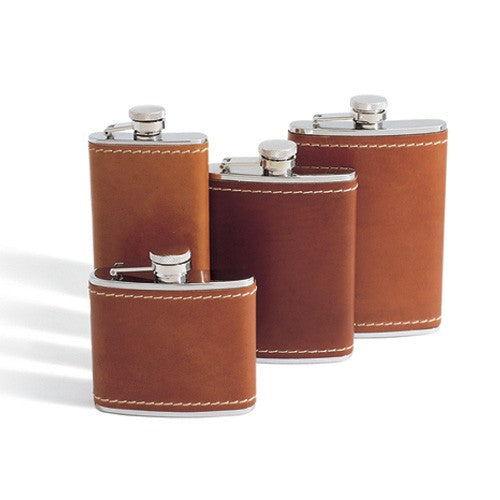 Tanned Saddle Leather Stainless Steel Flask 4 Sizes