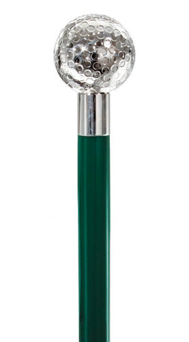 Golf Ball .925 Sterling Silver, Dark Green Hardwood Shaft 36