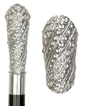 Sterling Silver R925 Swarovski Crystal Knob Walking Stick 38
