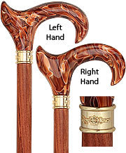 Vivid Sunset LEFT Ergonomic Walking Cane Rosewood Shaft 38