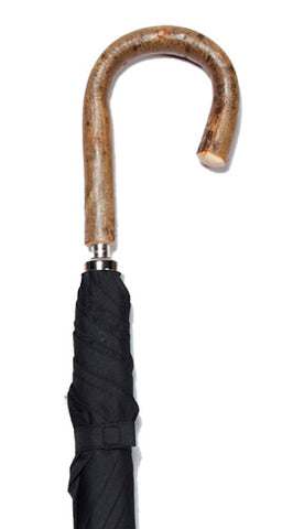 CLASSIC FULL BARK NATURAL ASH CROOK BLACK UMBRELLA 38