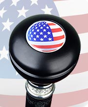 U.S. FLAG KNOB TOP MILITARY WALKING STICK, 37.5