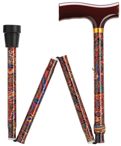 Classic Paisley Travel Folding Adj Cane 33-37