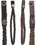 Genuine Black Leather Braided Wrist Strap with Snap