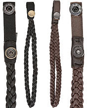 Genuine Brown Leather Braided Wrist Strap with Snap