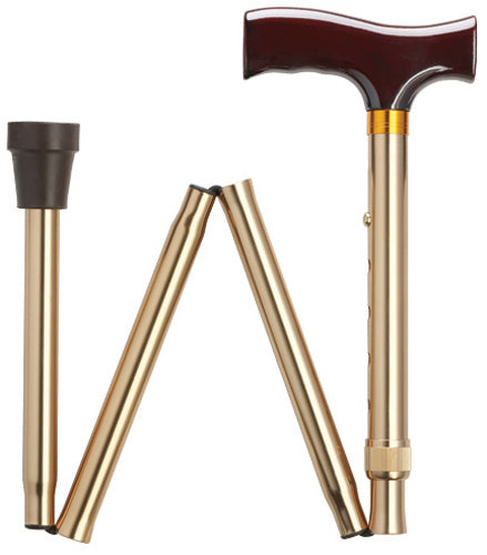 Solid Bronze Travel Folding Adj Cane 33-37