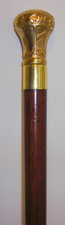 Regal Brass Knob Walking Stick, walnut brown 36