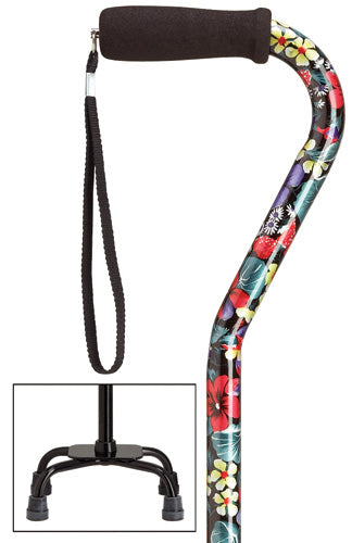 Night Flowers Quad Cane, small base, 30-39