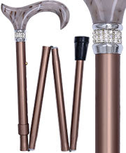 Champagne Metallic Adjustable Folding Walking Cane