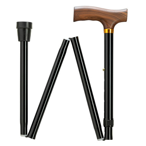 EXTRA TALL Fritz Black Travel Folding Adj Cane 39-43
