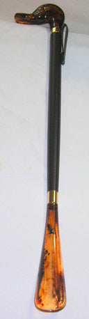 Amber Duck Head on Black Wood, Tortoiseshell Shoe Horn 22