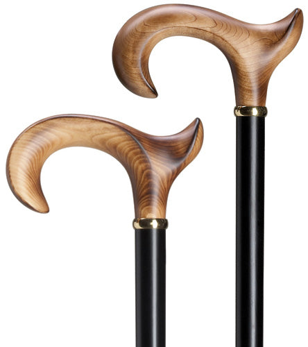 Scorched Maple Wood men's Ergonomic LEFT, black wood shaft 36