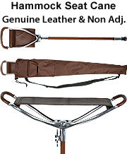 Hammock Seat Cane, non-adjustable, genuine leather w/case