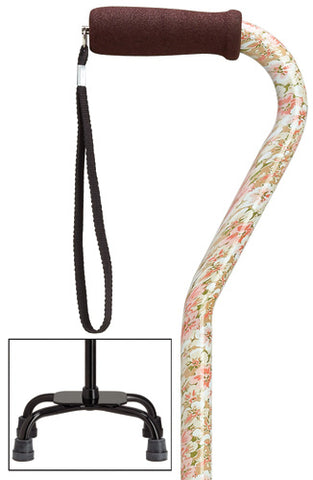 Pink Floral Quad Cane, large base, 30-39