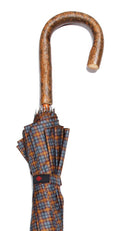 GREY/BROWN/GOLD TARTAN FULL BARK ASH CROOK UMBRELLA 39