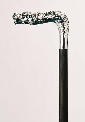 DRAGON SWORD CANE, silver plated, BY FAYET OF FRANCE