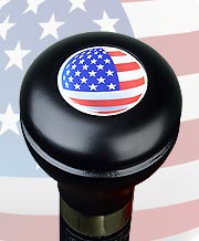 U.S.A. FLAG FLASK KNOB TOP MILITARY WALKING STICK, 37