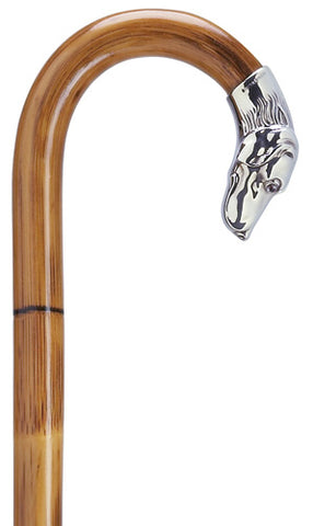 Alpacca Replica Dog Head Crook Walking Cane on Manilla Wood Shaft, Men's 36