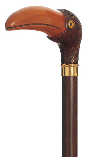 Panama the Jungle Bird, molded handle walking stick 36.5