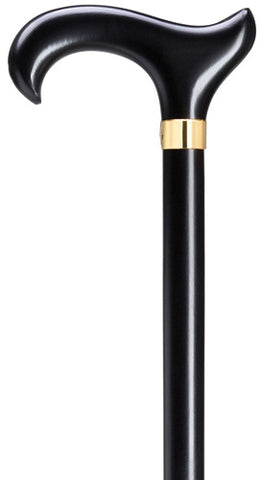 Derby  Wood Walking Cane for Men - Extra Wide Ergonomic Handle, Black with brass band  42