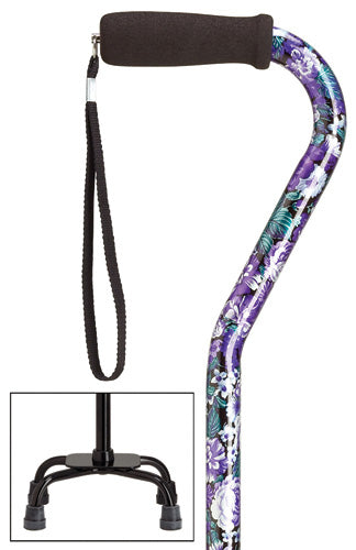 Purple Mauve Quad Cane, small base, 30-39