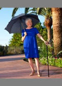 Plaid Umbrella Derby Adj Walking Cane w/ Auto Spring 34-36