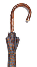 GREY/BROWN/GOLD TARTAN NATURAL CONGO CROOK UMBRELLA 38.5