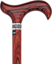 Exotic Cocobolo Wood Derby w/ Pewter Silver Collar, 37