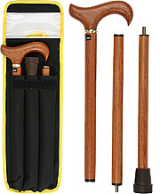 ROSEWOOD 3-part folding cane, solid wood, 38