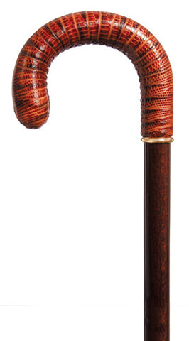 'SAVILLE ROW' Brown Walking Cane - Leather Crocodile Stamped Leather Crook Cane