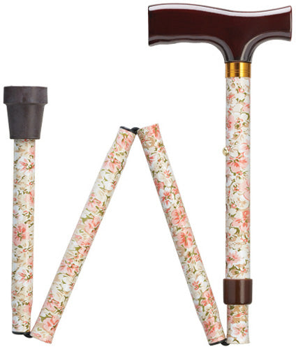 Pink Floral Travel Folding Adjustable Walking Cane | 33-37