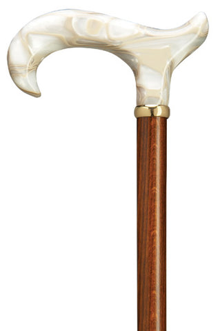 Pearl White Swirl Lucite Derby, Cherry shaft -  Ladies Sophisticated Walking Cane 36
