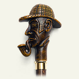 Sherlock Holmes, detective molded handle walking stick 36