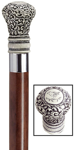 Regency 'Scrimshaw' Bulb Walking Stick, walnut 36