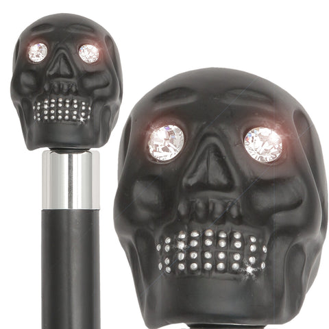 BLACK SKULL, SWAROVSKI CRYSTAL EYES & TEETH, BLACK SHAFT 36