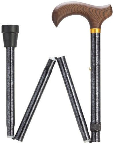 Black Granite Travel Folding Cane 33-37