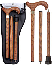 Beautiful Genuine Oak 3 Piece Wood Walking Cane