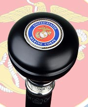 U.S. MARINE CORPS KNOB TOP MILITARY WALKING STICK, 37.5