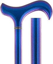 Color Changing Metallic Blue Derby Carbon Fiber Walking Cane