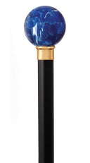 LAPIS BALL TOP, of Reproduction Lapis Lazuli, black shaft 36