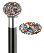 Rainbow Swarovski Crystal Encrusted Knob Walking Stick 38