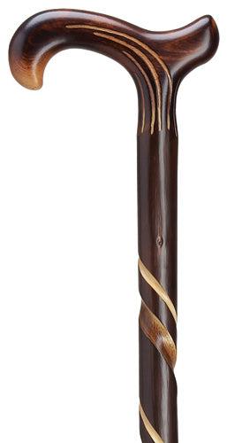 Artistic Spiral Carved Chestnut Derby XTall, wide handle, 42