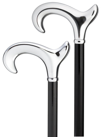 Bright Shiny Silver Chrome ergonomic RIGHT, black wood shaft 36
