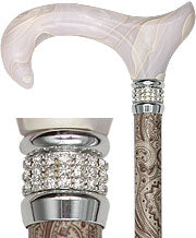 CREME CREAM PEARLZ Derby designer walking cane