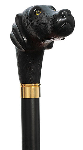 Scout, Black Lab Retriever Dog, molded handle walking stick 36