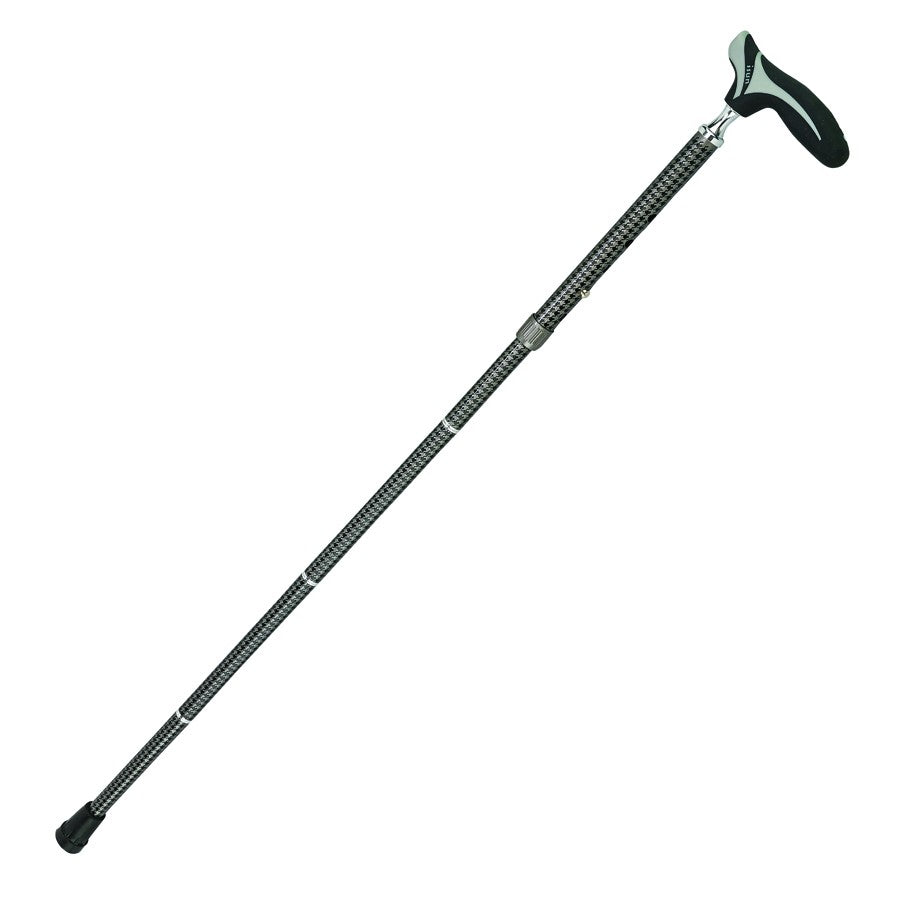 Black Over Molded Comfort Handle Adjustable Folding Cane