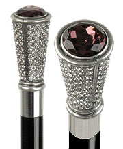 Swarovski Crystal Knob with Purple Stone Walking Stick