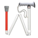 Ergonomic Overmold Folding White/Red Blind Cane, 32.5-36.5